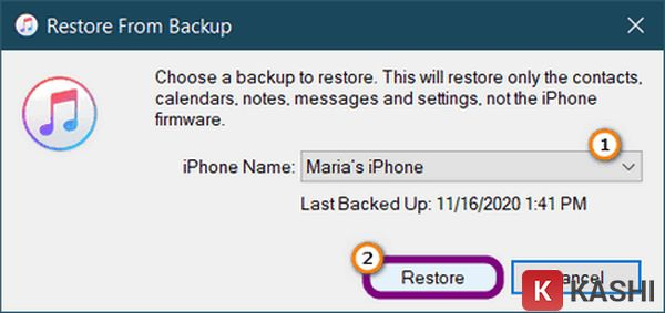 Trong hộp thoại Restore From Backup chọn Restore