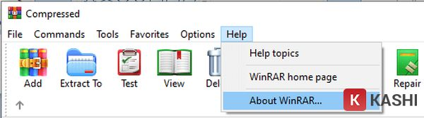 Help > Chọn About WinRar