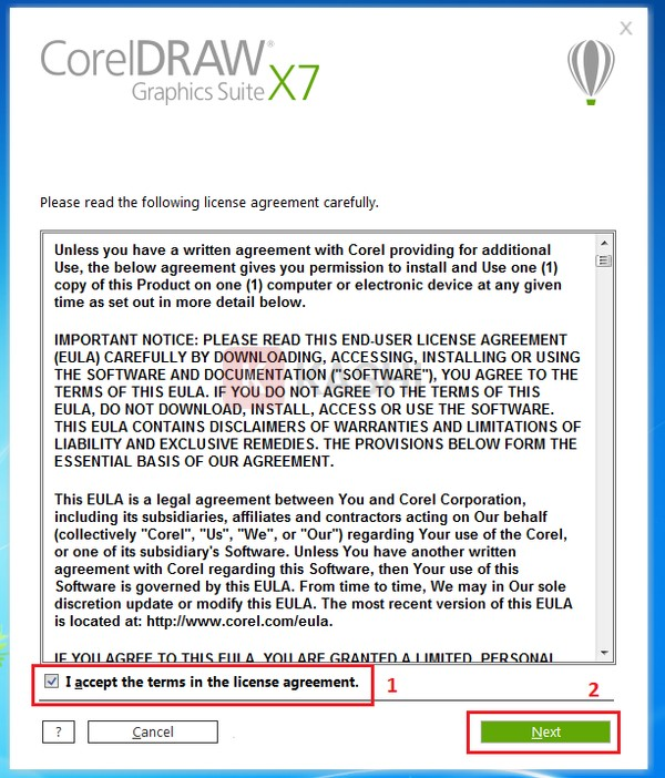 """Tick """"I accept the terms in the license agreement"""" => Next"""