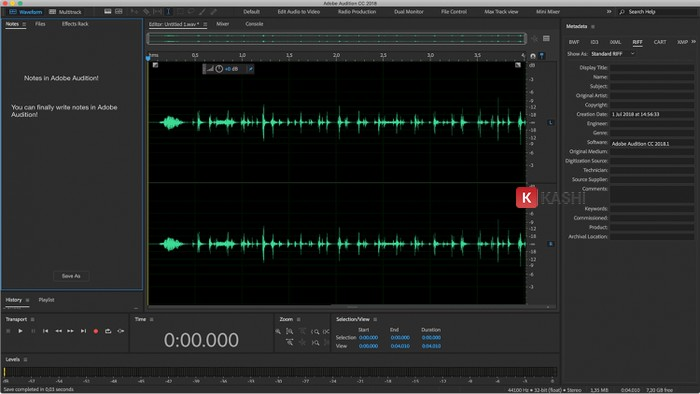 Giao diện Adobe Audition Full Crack